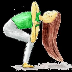 Yogaübung Drehung gebeugt