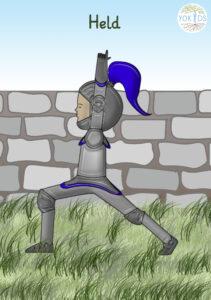 Kinderyoga Bildkarte Held Ritter